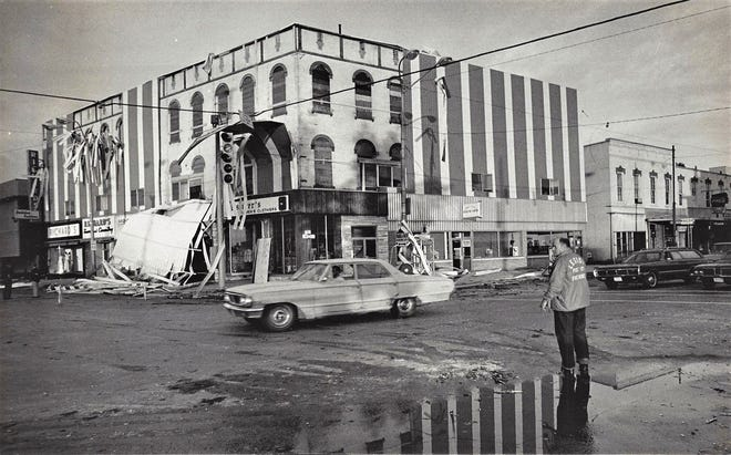 A tornado hit downtown Fremont in 1977.