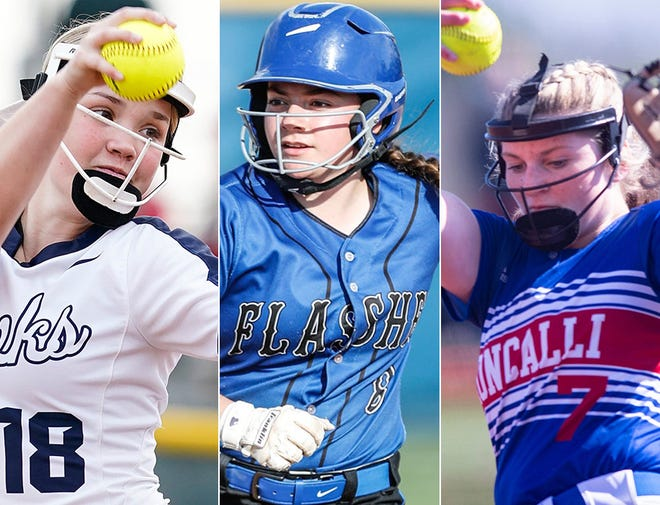 Left to right: Decatur Central's Emma Etter-Cox, Franklin Central's Abby Madere and Roncalli's Keagan Rothrock.