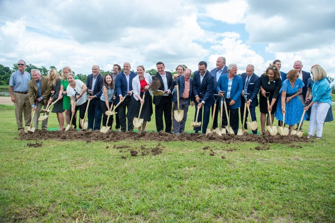 Groundbreaking ceremony for the Moncus Park Amphitheater open-air venue, sponsored by IBERIABANK, a division of First Horizon.  Tuesday, May 25, 2021.