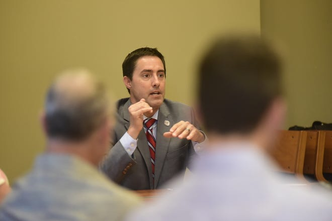 Ohio Secretary of State Frank LaRose speaks at a business roundtable discussion in Mansfield on Monday.