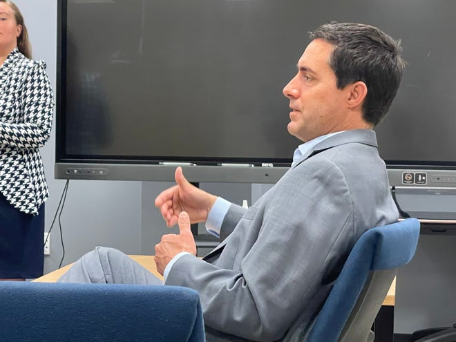 Ohio Secretary of State Frank LaRose visited Marion on Monday to speak with The Forge Business Incubator at the downtown location for Marion Technical College about economic development and entrepreneurism in the area.