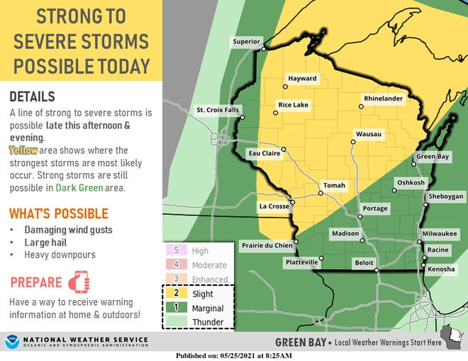 Severe thunderstorms are possible across Wisconsin on Tuesday, forecasters say.