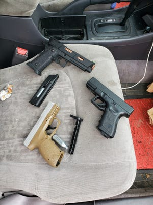 Waukesha police reportedly recovered these facsimile handguns from inside a vehicle that was seen driving past two Waukesha public schools Tuesday morning. A passenger allegedly displayed one of the guns as he was sitting on the window of the vehicle near Lowell Elementary School.