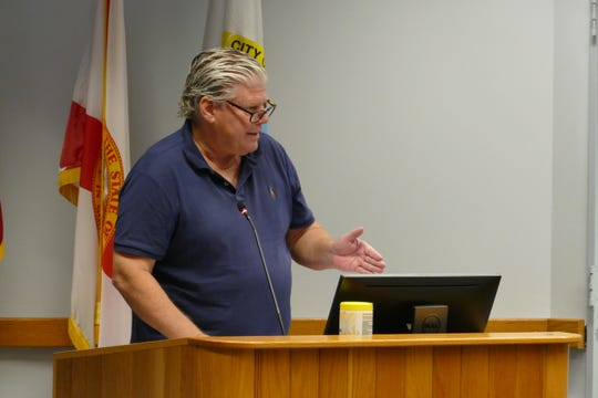 Gregory Myers speaks during a Naples City Council meeting on May 25, 2021.