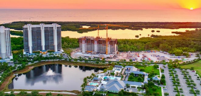Kalea Bay's main amenity area (bottom center) is located within walking distance of the community's high-rise towers.
