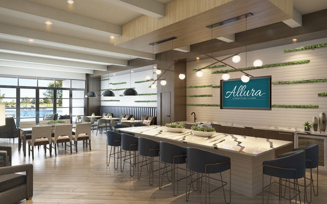 Stock's luxury apartment community of Allura includes a 15,000-square-foot clubhouse with demonstration kitchen and lounge area.