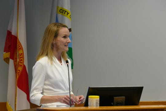 Attorney Elise Batsel of the firm Stearns Weaver Miller speaks during a Naples City Council meeting on May 25, 2021.