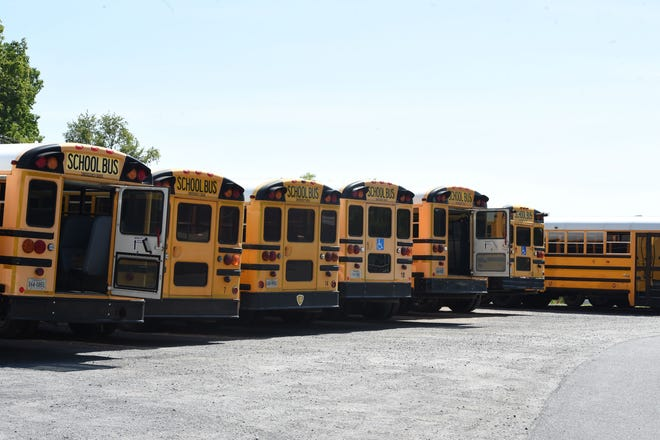 Staunton City Schools currently parks its buses on a gravel lot at Staunton Public Works. If the proposed operations facility happens, buses would have a more secure parking area.