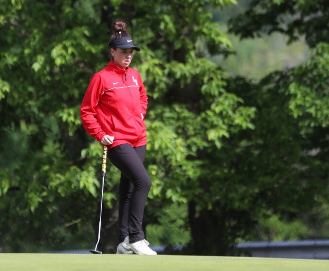North Rockland's Hannah Morello waits to putt on the 7th green during girls high school golf championships at Phillip J. Rotella Memorial Golf Course on Tuesday, May 25, 2021.