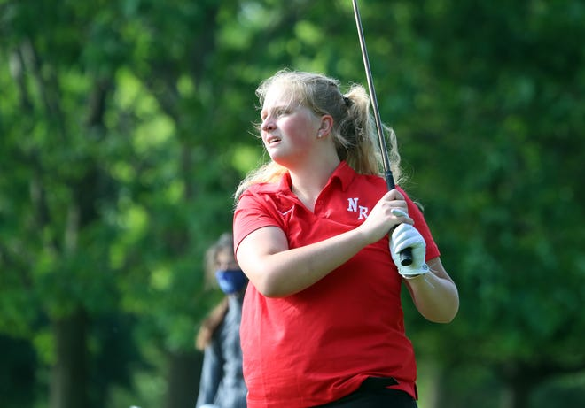 North Rockland's Nancy Kohut hits her  tee shot on the 4th hole during girls high school golf championships at Phillip J. Rotella Memorial Golf Course on Tuesday, May 25, 2021.