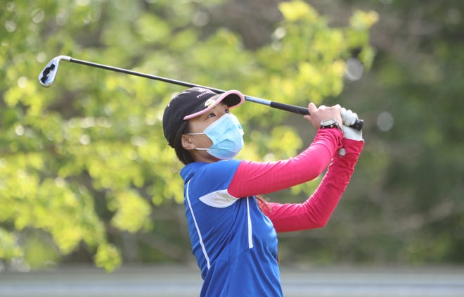 Pearl River's Alexis Lee hits her tee shot on the 8th tee during girls high school golf championships at Phillip J. Rotella Memorial Golf Course on Tuesday, May 25, 2021.