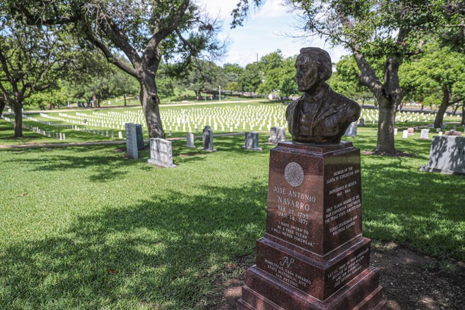 A monument honors José Antonio Navarro, a Tejano statesman and signer of the Texas Declaration of Independence, at the Texas State Cemetery. He is buried in San Antonio.