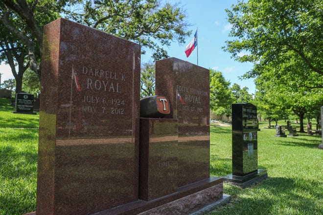 A tombstone sits on the burial site of former University of Texas at Austin football coach Darrell K. Royal at the Texas State Cemetery. Royal led the team to three national championships and 11 Southwest Conference titles. A place has been saved for his widow, Edith Royal, still living.
