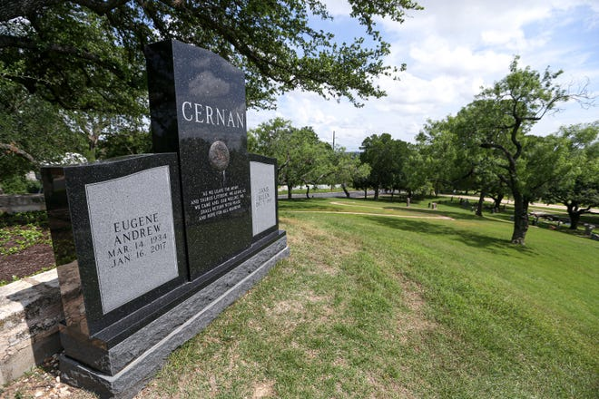 """A monument to Eugene Cernan, """"the last man on the moon,"""" sits on top of Monument Hill at the Texas State Cemetery."""