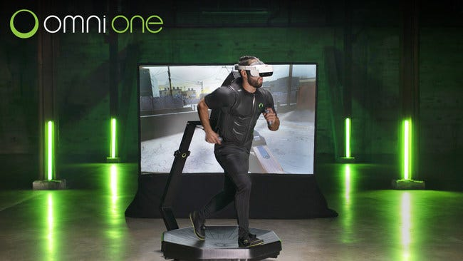 A player walks on the Omni One virtual reality treadmill, developed by Austin-based Virtuix. The company said Wednesday it has raised $19 million from 6,500 investors.