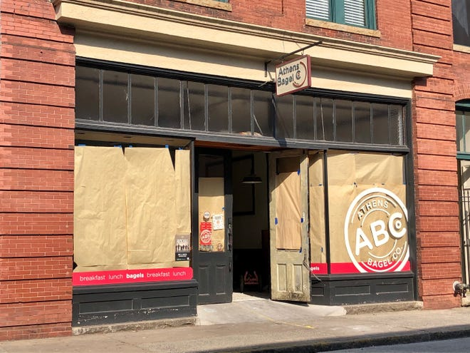 This photo taken on Tuesday, May 25, 2021 shows Athens Bagel Company on N. Jackson St. in downtown Athens, Ga.. Established in 2012, the restaurant is closed for remodeling after the building sustained extensive interior damage.