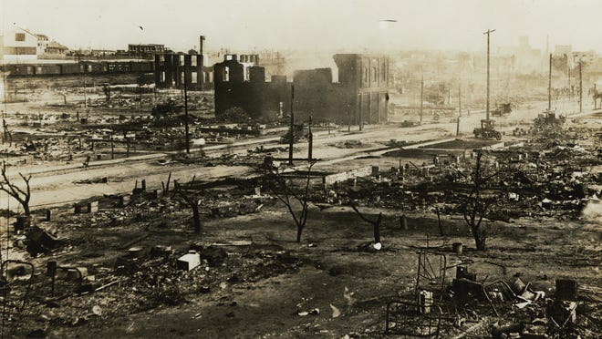 """Tulsa's Greewood district in the aftermath of the 1921 race massacre. The destruction of """"Black Wall Street"""" was 100 years ago."""