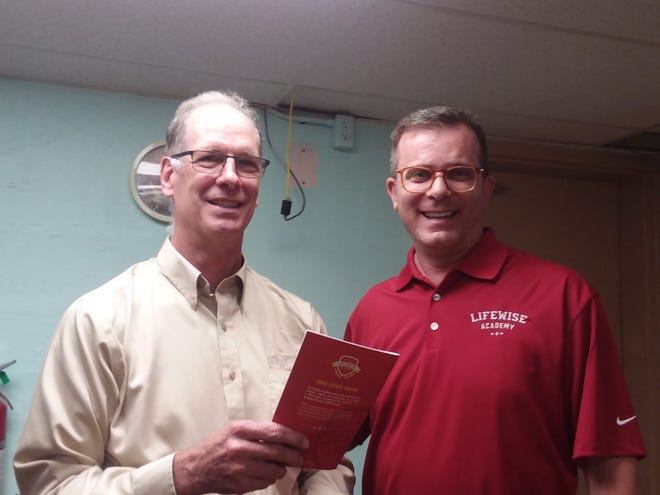 Rotarian Bill Alford talks with John Teevan about Lifewise Academy.