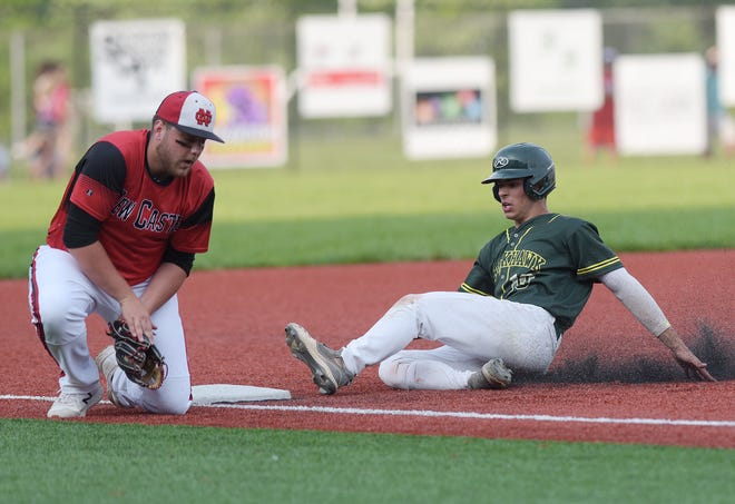 Blackhawk's Jarrod Malagise slides safely into third as New Castle's George Joseph defends during TuesdayÕs WPIAL Class 4A playoff game at Neshannock High School. [Sally Maxson/For BCT]