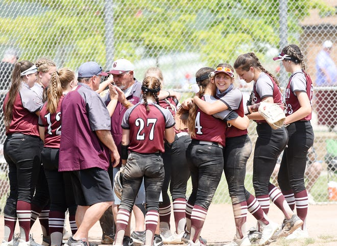 The Beaver Bobcats celebrate their 7-4 win against West Mifflin in the WPIAL semifinals at Peterswood Park. [Sally Maxson/For BCT]