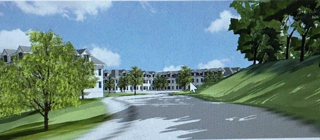 This rendering shows the 96-unit 40B development planned for Sisson Road from the entrance of the proposed project. Approximately 24 of the 96 units would be set aside as affordable.