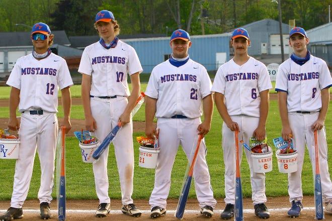 The Penn Yan Mustang baseball seniors were honored May 19 for their years of play; #12 Clark Simmons, #10 William Steele, # 21 Mark Preston, # 6 Matt Lerch, and # 8 Mason MacKerchar.