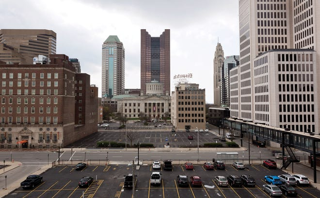 A view of downtown Columbus captured on Tuesday, April 7, 2020.