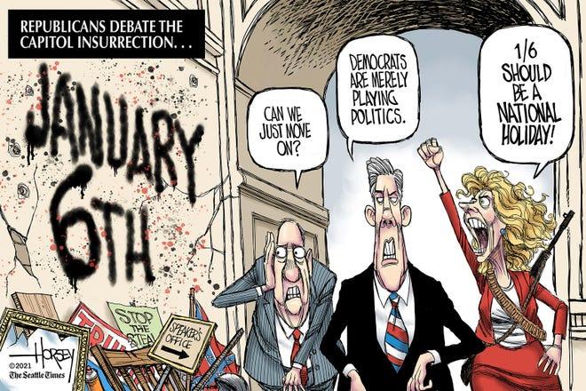 David Horsey mask cartoon.