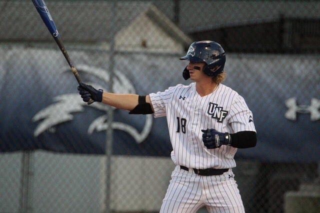 Former Umatilla and Eustis standout Tanner Clark hits for the University of North Florida. Clark was named Umatilla head baseball coach on Wednesday. [COURTESY / TANNER CLARK]