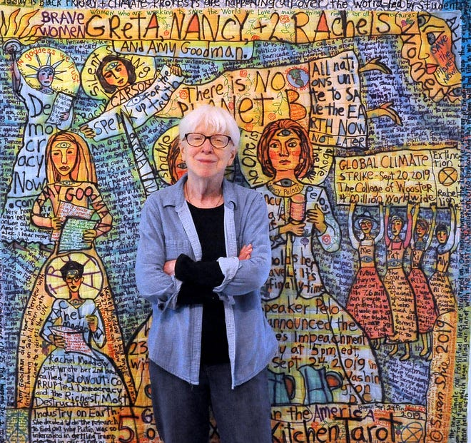 """Susie Shie will feature a quilted narrative painting titled """"Beloved""""at the 2021 Wayne/Holmes Artist's Exhibition. Painted with an airbrush and sown together with cloth, the piece is a tribute to Toni Morrison, a writer whose works shined a light on African American life and race relations in the United States."""