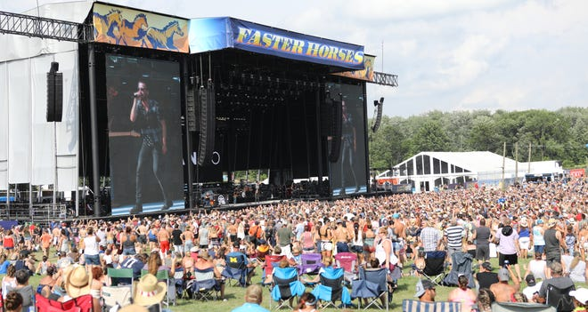 The main stage at the Faster Horses country music festival is seen July 19, 2019. This year's festival will be July 16-18 at Michigan International Speedway.