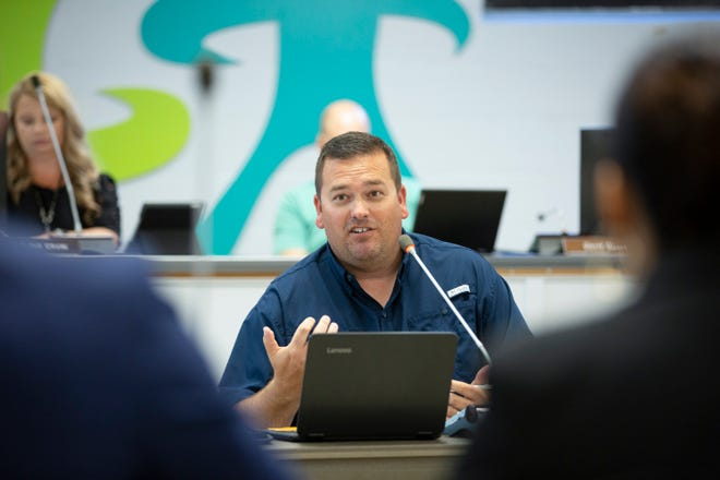 Maury County Public Schools Board of Education member Wayne Lindsey speaks during a specially called budget session at Horace O. Porter School in Columbia, Tenn., on Wednesday, May 26, 2021.