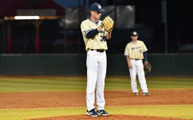 Wingate's Brody McCullough will once again pitch for the High Point-Thomasville HiToms again this summer. [Hugh Patton/Wingate University]