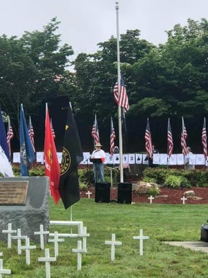 Jim Little is pictured speaking at the wreath-laying ceremony at the NC Vietnam VeteransMemorialPark Memorial Day ceremony in 2020.