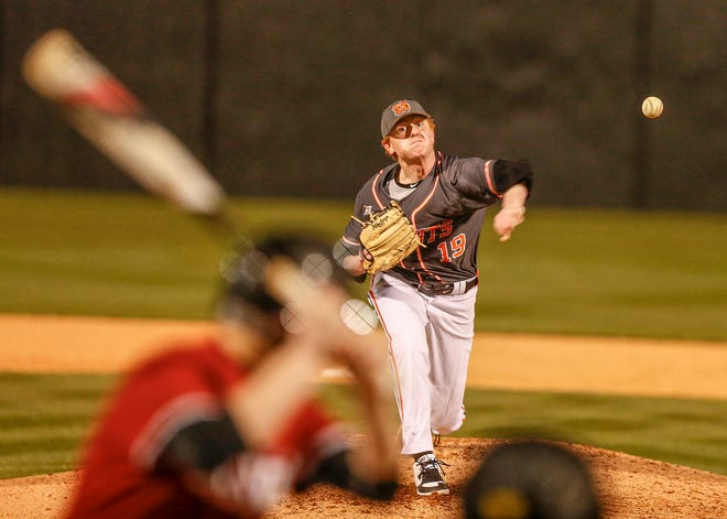 North Davidson's Merritt Beeker pitches in a 2020 game. [File photo]