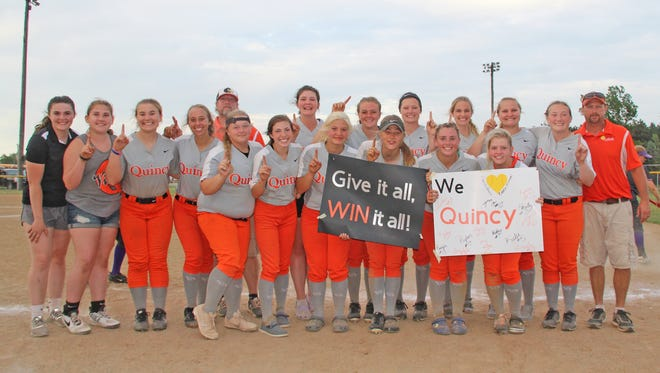 The Quincy Lady Orioles secured their fourth straight Big 8 championship with a sweep over Bronson Tuesday night
