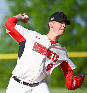 Honesdale's Joe Curreri deals to the dish during Tuesday's District Two playoff game versus Tunkhannock. Curreri went 6.2 innings  route to an 8-1 victory.