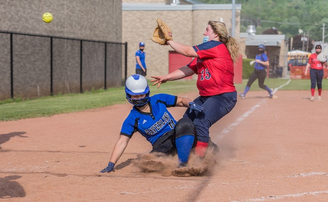 Hornell's Haylee Smith covers the plate during Tuesday's loss to Haverling in Hornell.