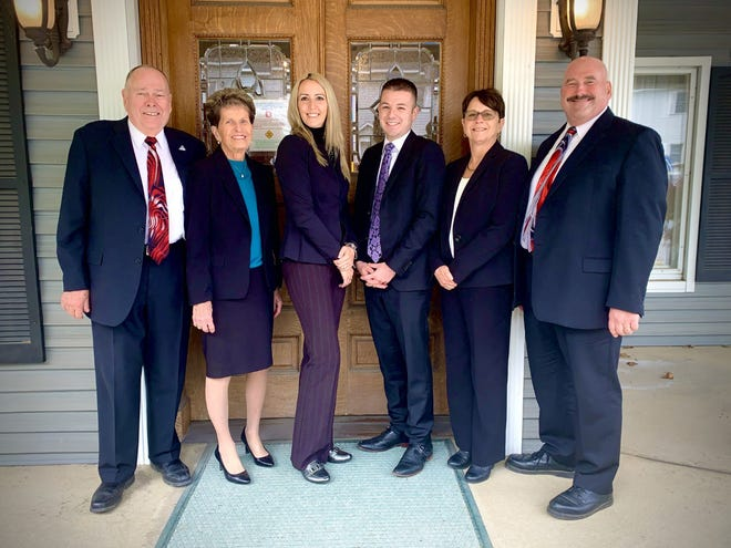 From left, Len and Sandy Hendrix, Heather Rauch, Vincent Iocovozzi Jr., and Geri and Scott Hendrix are available to serve local families at the Whiter-Hendrix Funeral Home in Ilion.