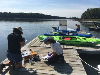 UNH researchers sampling emerging contaminant in the Great Bay Estuary.