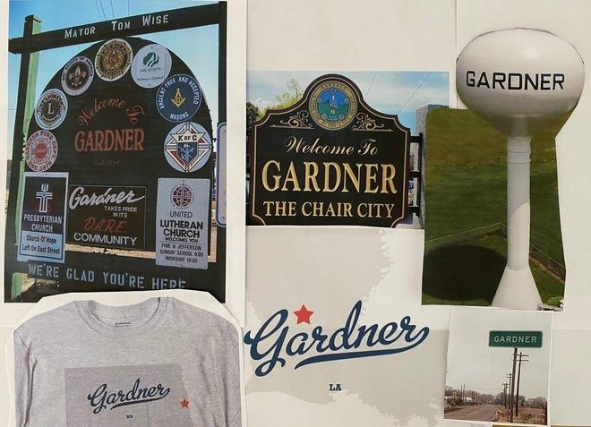 A collage of Gardners, clockwise from top center, Gardner, Massachusetts; Gardner, Kansas; Gardner, Colorado; Gardner, Louisiana; Gardner, North Dakota; Gardner, Illinois