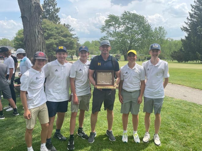 Pictured: The Hillsdale Hornets Golf Team From Left to Right: Grant Alley, Brody Young, Joseph Miller, Coach Wilson, Jack Granata, Corbyn Beach.