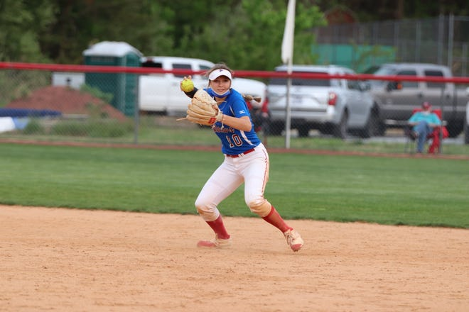 West Henderson shortstop Megan Reese fields a ball at West during a game earlier this season.