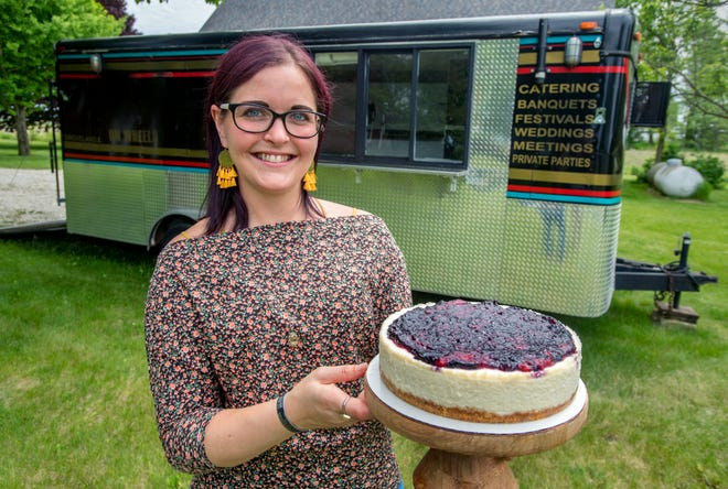 Rebekah Baer of Tremont has mastered the art of baking cheesecake, including this blueberry version, and many other sweet treats and desserts for her business, The Baking Baer. Baer offers as many as 30 flavors of cheesecake as well as a wide variety of cookies, cupcakes and macarons. She recently purchased a mobile kitchen to expand her bakery with a food truck.