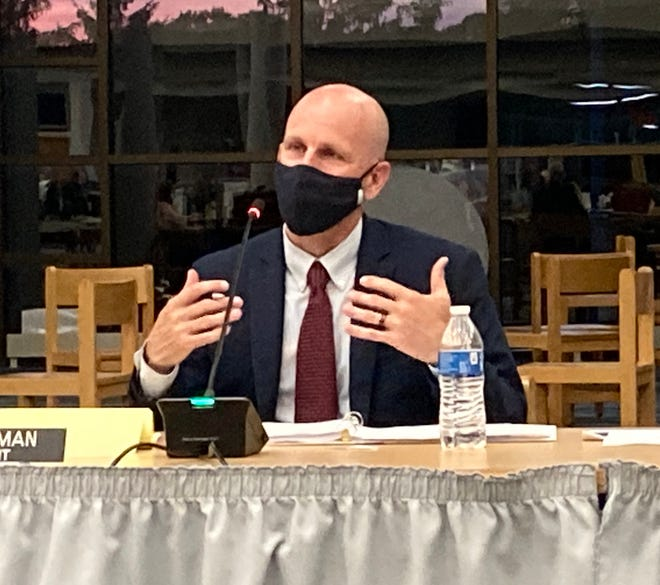 """Hudson City School District Superintendent Phil Herman speaks during a recent board of education meeting. Herman told families on Thursday, May 27, that the district is investigating a report that some high school students made """"racial and homophobic hate statements"""" in a phone app video game."""