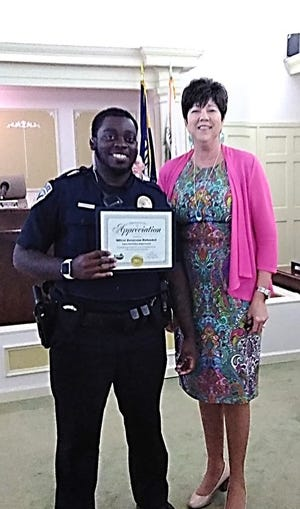 Officer Devarrean Kirkendoll was recognized for his positive impact on the local community by the City of Leesville.