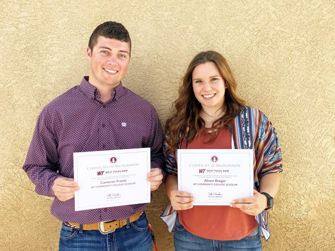 Cameron Frantz of Rocky Ford and Alison Bregar of Pueblo were awarded certificates as part of the 2021 Community College Scholars Recognition program at West Texas A&M University. They were nominated by OJC president Timothy Alvarez because of their hard work and academic integrity.