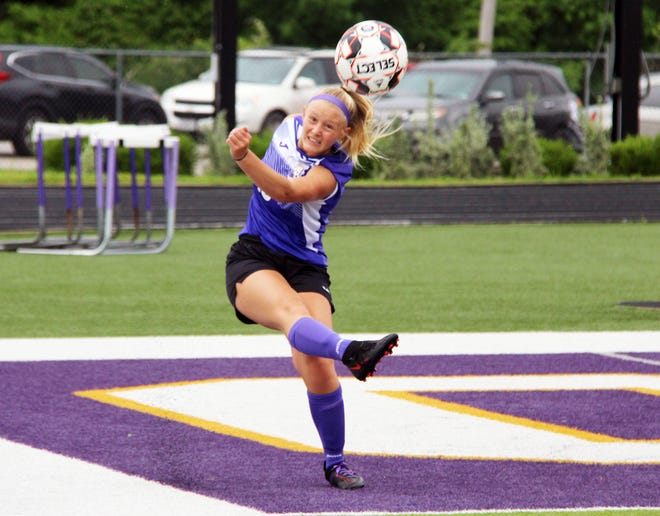 Camdenton senior Ella Demott blasts the ball up the line in a Class 3 sectional playoff game against Grain Valley on May 25 in Camdenton.