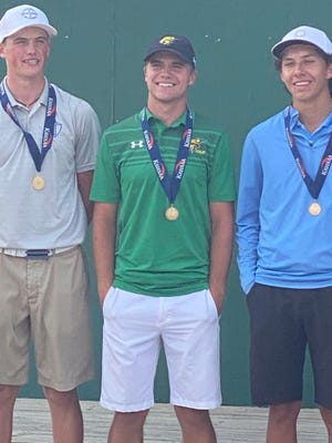 Shown is Basehor-Linwood senior golfer Joey Langstraat (middle) following his fifth-place finish at the Class 5A state golf tournament Tuesday at Sand Creek Station Golf Course in Newton.