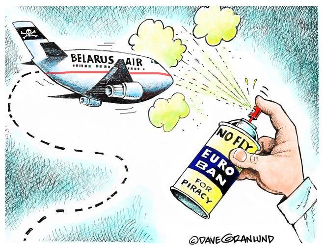Dave Granlund cartoon on banning Belarus flights over Europe